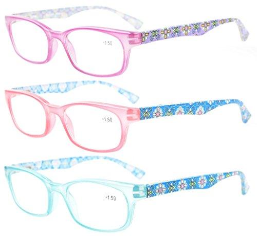 Eyekepper Lesebrille 3-Pack mit Lila, Rosa, Blau Stil Anschein Crystal klare Vision-Komfort Feder Arme Einschließen Fall Tuch +3.0