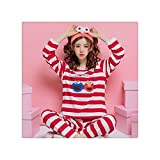 Brand Spring Autumn Long Sleeved Cotton Women's Pajamas Set Cartoon Bugs Sleepwear Girls Pyjamas Mujer Lady Casual Home Clothing 620R XXL