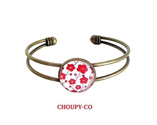 Pulsera de cabujón pulsera de cepillo * flores rojas * pulsera ajustable de bronce blanco pulsera de fantasía femenina.