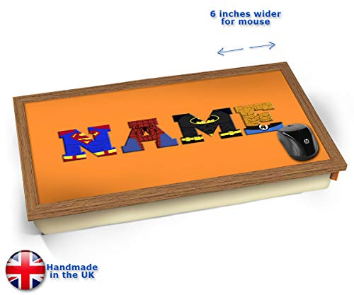 Orange Superhero Personalised Childrens Name Cushioned Bean Bag Laptop Lap Tray Desk - Built-in EMF Shield (Electro Magnetic Field) Kissen Tablett Knietablett Kissentablett - Holz Effekt Rahmen (Brown Frühstück Kissen)