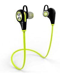 Tevina Ecouteurs Bluetooth 4.1 Casque de Sport Oreillette Sans Fil Stéréo Intra-Auriculaires Tour de Cou Mains libres avec Microphone pour Appareils Bluetooth (Vert et Noir)