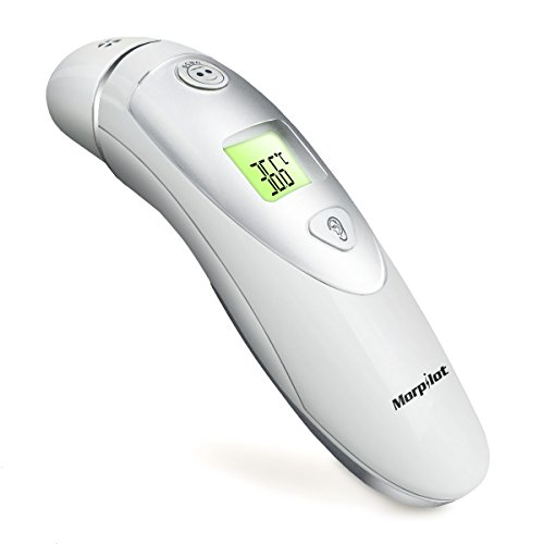 Termómetro infrarrojo digital de oído/frente para bebe y adulto,Morpilot Termómetro de infrarrojos digital- para la frente y el oído Modo duble para adultos y bebés – Una segunta de medición precisa fiebre 20 Recuperación de memoria segura e higiénica