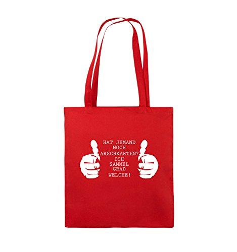 Comedy Bags - HAT JEMAND NOCH ARSCHKARTEN - Jutebeutel - lange Henkel - 38x42cm - Farbe: Schwarz / Pink Rot / Weiss