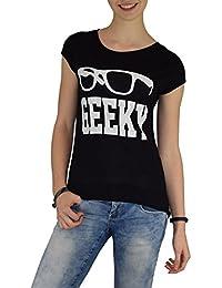 S&LU Angesagte Damen-T-Shirts im aktuellen Vokuhila-Style in verschiedenen Designs / One Size XS-M