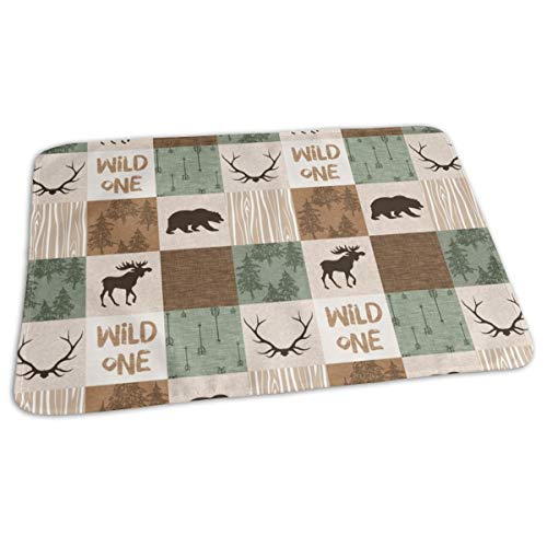 Wild One Quilt - Green And Brown - Moose, Bear, Antlers, Hunting Camo Baby Portable Reusable Changing Pad Mat 19.7x 27.5 inch Camo Quilt