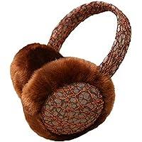 SUPRERHOUNG Auriculares de la música del Lado del cordón Ear Muffs Warm Plush Ear Warmers Winter Outdoor Earmuffs (Black) (Color : Coffee, tamaño : 14cm)