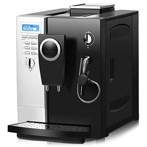 COSTWAY Kaffeevollautomat Edelstahl, Kaffeemaschine mit Milchaufschäumersystem, Doppelte-Tassen-Funktion / 2L Wassertank/Kaffeebohnen und Kaffeepulver / 1200W