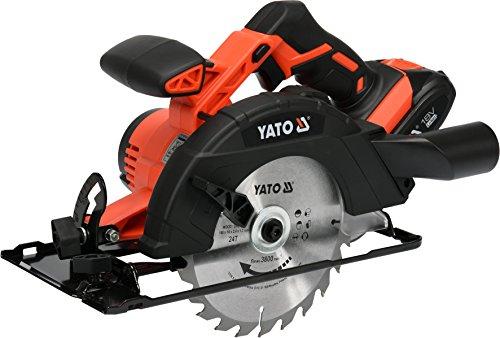 Yato–Sierra circular de mano inalámbrica 18V | 2,0Ah Batería de ion de litio, cargador rápido | aspirador adaptador | Hoja de sierra Ø165X 16Mm 24dientes |