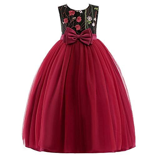 Lisansang Mädchenhochzeitskleid Vintage Hochzeit Pageant Blumenmädchen Rattail Edge Tüll Kleid Mädchen Kleider Kinder 0-12 Jahre altes Blumenmädchenkleid, Mädchenfestkl (Größe : 150)