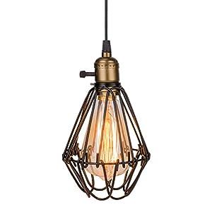 Eletorot Pendente del metallo Vintage Ombra Birdcage lampada Luce di soffitto muro luce per soffitta bar cucina lampada Home Décor (nero)