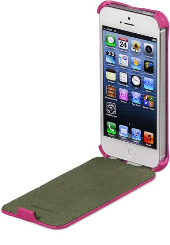 StilGut SlimCase exklusive Tasche aufklappbar für Apple iPhone 5, 5s & iPhone SE, Rosa Rosa