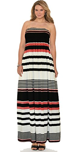 66 Fashion District Damen Bandeau Kleid 34-52 Multi Colour Strips