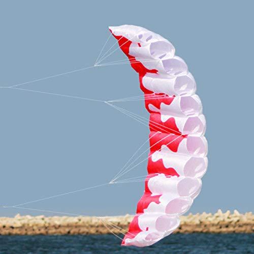 JohnJohnsen 2m Flamme Double Ligne Stunt Parachute Souple Parafoil Voile Kite Surf Sport Kite Huge Grande activité de Plein air Plage cerf-Volant (Blanc et Rouge)