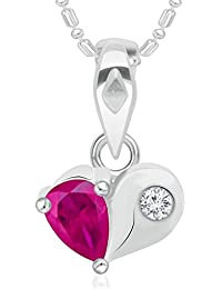 VK Jewels Bonded Heart Pink Pearl Rhodium Plated Alloy CZ American Diamond Pendant With Chain For Women & Girls...