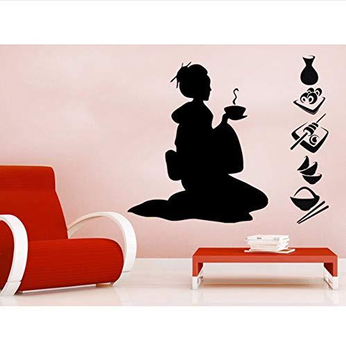Pbldb 42X50 Cm Geisha Silhouette Kunst Wandbilder Home Moderne Spezielle Dekorative Vinyl Neu Wandaufkleber Salon Mädchen Serie