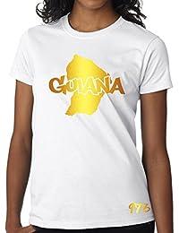 T-shirt Femme Guyane 973 Guiana Blanc et Or Métallisé