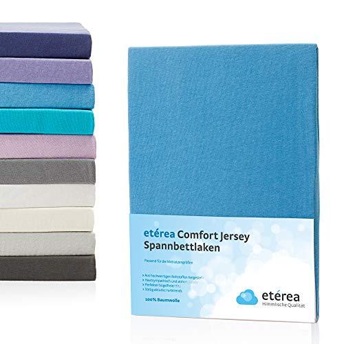 Etérea Jersey Topper Spannbettlaken- Serie Comfort - 100% Baumwolle Spannbetttuch Farbe Hellblau, in der Größe 90x200-100x200cm