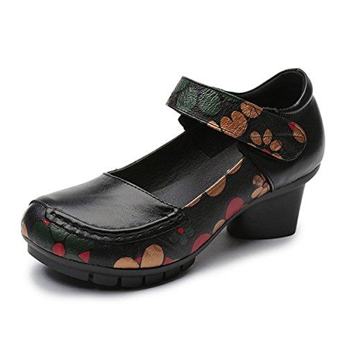 Socofy Damen Pumps, Mary Jane Schuhe Leder Slipper Damen Halbschuhe Klassische Pumps Vintage Flats Blockabsatz Weich Komfort Schwarz 40