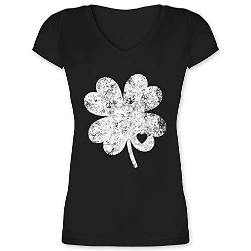 St. Patricks Day - Vintage Kleeblatt mit Herz - XL - Schwarz - XO1525 - Damen T-Shirt mit ()