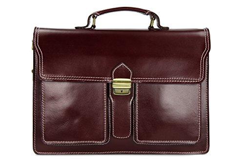 "Belli ""Design Bag B ital. Leder Businesstasche Arbeitstasche Messenger Aktentasche Lehrertasche Laptoptasche unisex - Farbauswahl - 40x30x14 cm (B x H x T) (Bordeaux dunkel)"