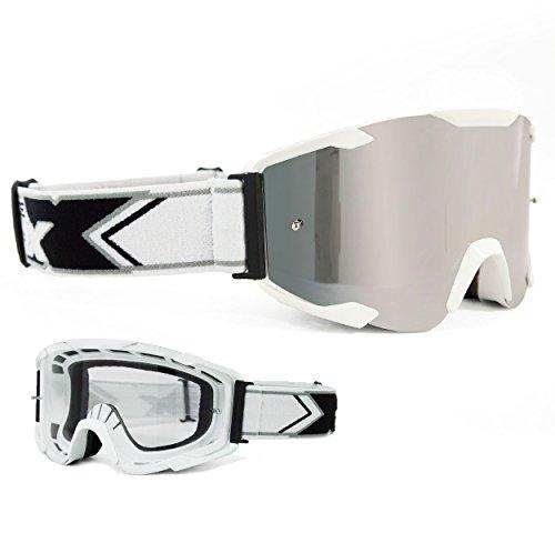 Two-X Bomb Crossbrille Weiss Glas verspiegelt Silber MX Brille Motocross Enduro Spiegelglas Motorradbrille Anti Scratch MX Schutzbrille