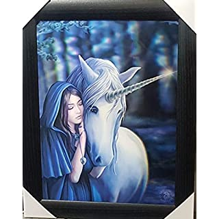 ANNE STOKES Official Gothic Collection Solace Unicorn Framed Lenticular 3D Art Poster Picture New size 47 x 37 cm