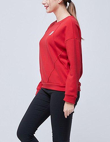 Femme Sweat-Shirt à Manches Longues Lâche Blouse Hoodie Épais Tops Hauts Casual Uni Veste Pulls Élégant Sweater Sport Automne Printemps YOSICI Rouge