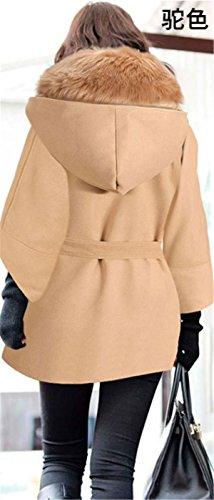 IWFREE Damen Elegante Stil Winter Jacke Mantel Lange Trenchcoat Duffle Mit Guter Blouson Kunsstpelkragen Schwarz