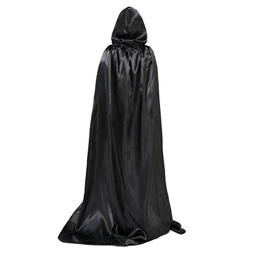 Huntforgold Umhang mit Kapuze Lange Satin Cape für Halloween Vampir Kostüm(60-170cm) Schwarz (Cape Schwarzes Kapuze)