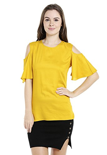 Ishin Crepe Yellow Solid Cold Shoulder Party Wear Casual Daily Wear New Collection Latest Design Trendy Women's Western Wear Top