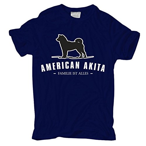 Männer und Herren T-Shirt American Akita - Familie ist alles körperbetont dunkelblau