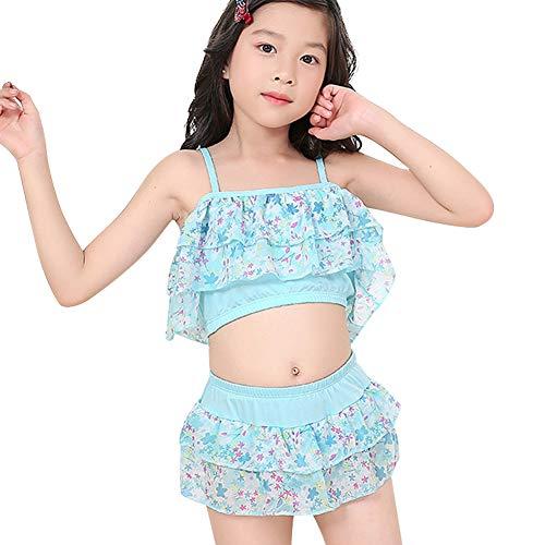 Duevin Kinder-Mädchen-Badeanzug-Set, niedlicher Zweiteiliger Bikini-Blumendruck aus Schulter Sling Bademode (16-Blau) -