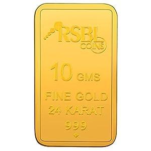 RSBL 10 gm, 24k (999) Yellow Gold Ecoins Precious Bar