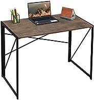 مكتب بتصميم عصري بسيط للدراسة والكمبيوتر والكتابة، قابل للطي، للمنزل والمكتب، بني