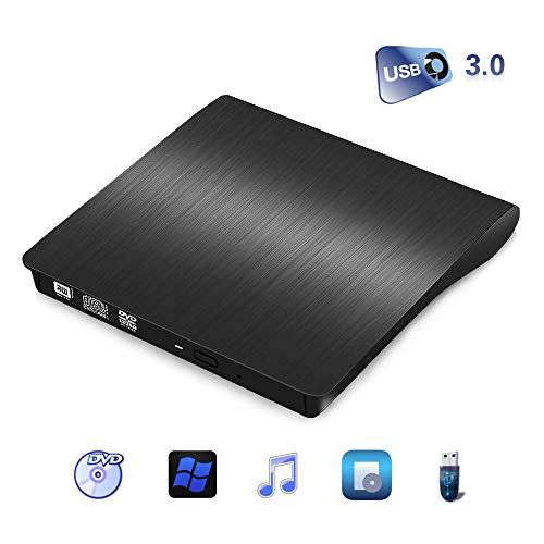 Externes CD/DVD Laufwerk,Amicool USB 3.0 Portable CD DVD +/-RW Drive Slim DVD/CD Rom Rewriter Burner Writer, High Speed Data Transfer for PC Desktop MacBook Windows XP/Win7/ 8/10/Vista/Linux/Mac OS (Transfer-filme Auf Dvd)