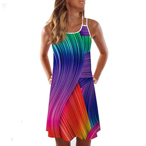 TUDUZ Damen Sommer Vintage Boho Ärmelloses Sommerstrand Rundhals Rock Partykleid Minikleid 3D Blumendruck Tank Kleid