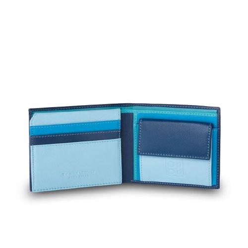 Portafoglio piccolo da uomo in pelle con portamonete di DUDU Blu