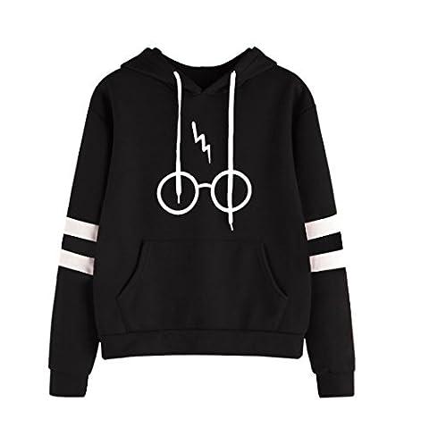 Bluestercool Sweatshirt à capuche Femmes à manches longues Décontractée Pull-over à capuche (L, Noir)