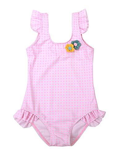 Cherry Mädchen Badeanzug (HAPPY CHERRY Mädchen Badeanzug Kleinkinder Ärmellos Schwimmanzug Strand Einteiler Bademode mit Rüschen Baby Swimsuit Süße Badebekleidung Rosa 1 - Größe S)