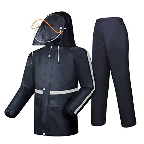 LAXF-Regenjacken Regenanzug für Männer und Frauen Wiederverwendbare Regenkleidung (Regenjacke und Regenhosen Set) Erwachsene Kapuze Outdoor Arbeit Motorrad Golf Angeln Wandern Jagd (Mesh-tech Motorrad-jacke)