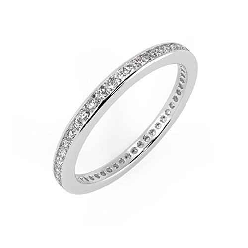 3/4 Ct Round Diamonds Channel Set Full Eternity Ring in 18k White Gold Size N