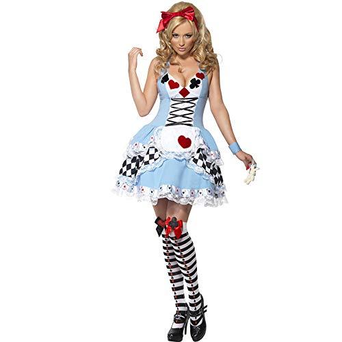 Kirei Ona Damen Vollbrustkorsett Enge Dienstmädchenbekleidung Clown Kellnerin Uniform Rückenreißverschluss-Das Münchener Oktoberfest Kostüm Cosplay Halloween Kleid,Blue,XL