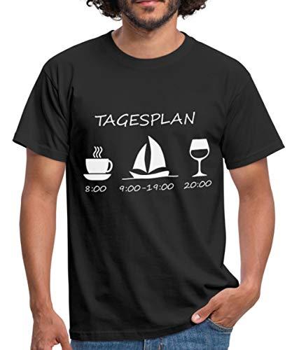 Spreadshirt Segeln Tagesplan Kaffee Segelschiff Wein Männer T-Shirt, L, Schwarz