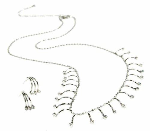 Janeo Jewellery Sets, Under £40 Herren -  Silber rhodiniert  Transparent     Cristal  (Kostüm Schmuck Broschen Großhandel)