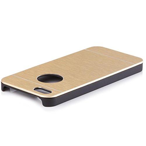 iCues Apple iPhone SE / 5S / 5 |  Alu Case Gebürstet Gold | [Display Schutzfolie Inklusive] CNC Aluminium Metall Metallic Schutzhülle Hülle Cover Schutz Gold