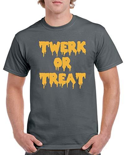 Comedy Shirts - Twerk or Treat - Halloween - Herren T-Shirt - Dunkelgrau/Gelb Gr. XXL