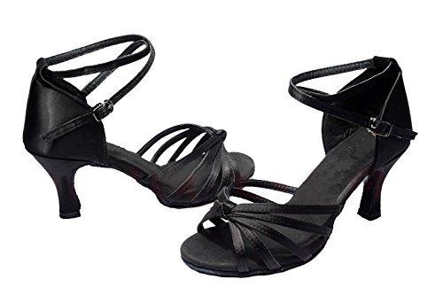 Minetom Scarpe da Ballo Latino Rumba Quadrato con Tacco Basso Sandali Sexy da Donne Nero