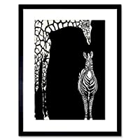 Wee Blue Coo Painting Illustration Abstract Zebra Giraffe Zoo Framed Wall Art Print