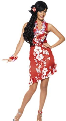 Confettery - Damen Hawaii Blumenkleid Kostüm, M, Mehrfarbig