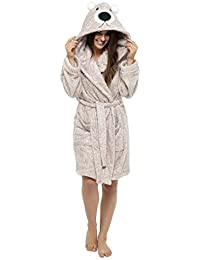 30e65194b9 Ladies Hooded Dressing Gown Fleece Animal Short Length Pink Beige Fleck  Marl Bunny Rabbit Teddy Bear Size UK 8…